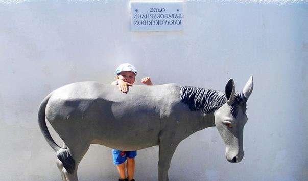 Скульптура осла в Ие